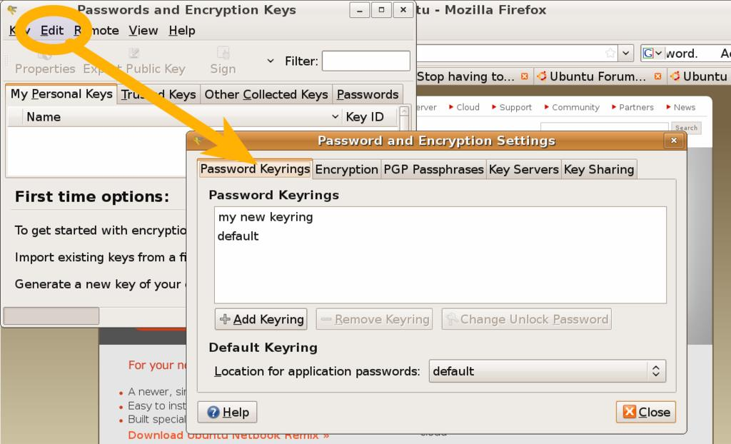 HOW TO: Reset keyring password